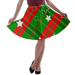 Background Abstract Christmas A Line Skater Skirt