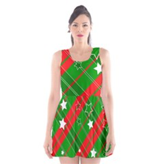 Background Abstract Christmas Scoop Neck Skater Dress