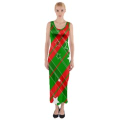 Background Abstract Christmas Fitted Maxi Dress
