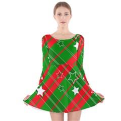 Background Abstract Christmas Long Sleeve Velvet Skater Dress