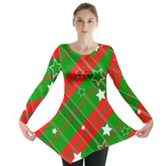 Background Abstract Christmas Long Sleeve Tunic