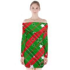 Background Abstract Christmas Long Sleeve Off Shoulder Dress