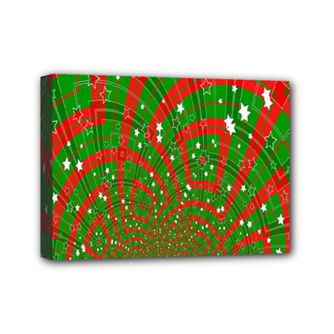 Background Abstract Christmas Pattern Mini Canvas 7  x 5