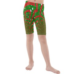 Background Abstract Christmas Pattern Kids  Mid Length Swim Shorts