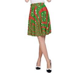 Background Abstract Christmas Pattern A-Line Skirt