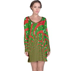 Background Abstract Christmas Pattern Long Sleeve Nightdress