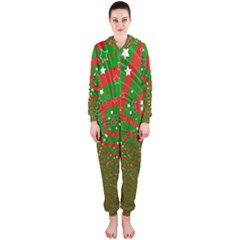 Background Abstract Christmas Pattern Hooded Jumpsuit (ladies)