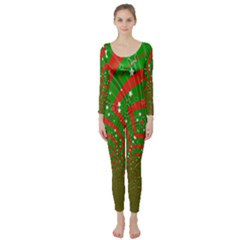 Background Abstract Christmas Pattern Long Sleeve Catsuit