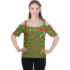 Background Abstract Christmas Pattern Women s Cutout Shoulder Tee