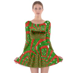 Background Abstract Christmas Pattern Long Sleeve Skater Dress