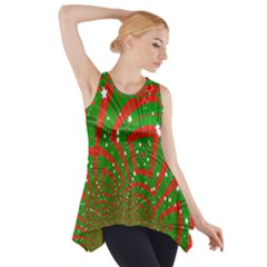 Background Abstract Christmas Pattern Side Drop Tank Tunic