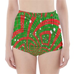 Background Abstract Christmas Pattern High-Waisted Bikini Bottoms