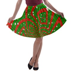 Background Abstract Christmas Pattern A Line Skater Skirt