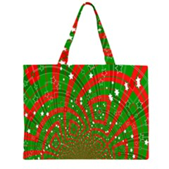 Background Abstract Christmas Pattern Zipper Large Tote Bag