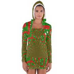Background Abstract Christmas Pattern Women s Long Sleeve Hooded T-shirt