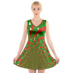 Background Abstract Christmas Pattern V Neck Sleeveless Skater Dress