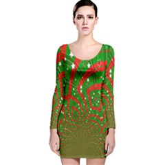 Background Abstract Christmas Pattern Long Sleeve Velvet Bodycon Dress