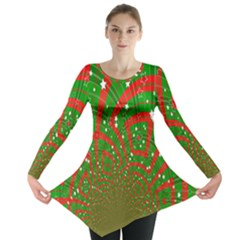 Background Abstract Christmas Pattern Long Sleeve Tunic