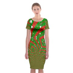 Background Abstract Christmas Pattern Classic Short Sleeve Midi Dress