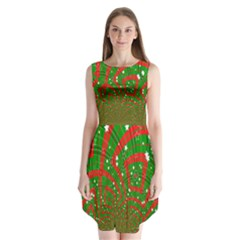 Background Abstract Christmas Pattern Sleeveless Chiffon Dress
