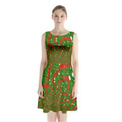Background Abstract Christmas Pattern Sleeveless Chiffon Waist Tie Dress