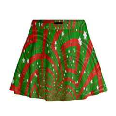 Background Abstract Christmas Pattern Mini Flare Skirt