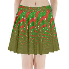Background Abstract Christmas Pattern Pleated Mini Skirt
