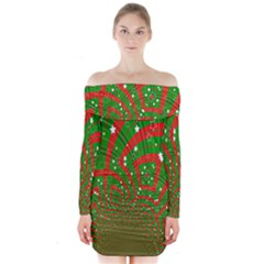 Background Abstract Christmas Pattern Long Sleeve Off Shoulder Dress