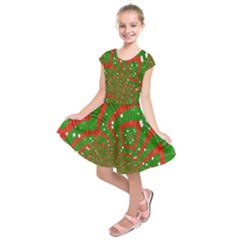 Background Abstract Christmas Pattern Kids  Short Sleeve Dress