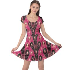 Background Abstract Pattern Cap Sleeve Dresses