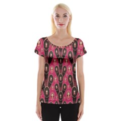 Background Abstract Pattern Women s Cap Sleeve Top