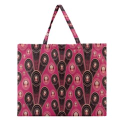 Background Abstract Pattern Zipper Large Tote Bag