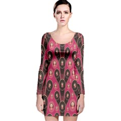 Background Abstract Pattern Long Sleeve Velvet Bodycon Dress