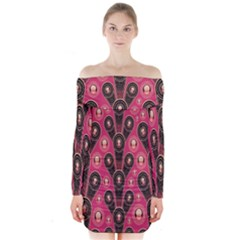 Background Abstract Pattern Long Sleeve Off Shoulder Dress