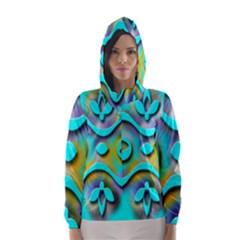 Background Braid Fantasy Blue Hooded Wind Breaker (women)