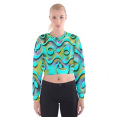Background Braid Fantasy Blue Women s Cropped Sweatshirt