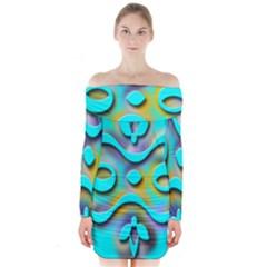 Background Braid Fantasy Blue Long Sleeve Off Shoulder Dress