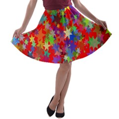 Background Celebration Christmas A-line Skater Skirt