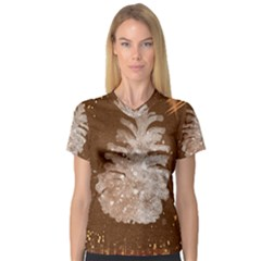 Background Christmas Tree Christmas Women s V Neck Sport Mesh Tee