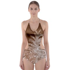 Background Christmas Tree Christmas Cut Out One Piece Swimsuit