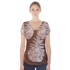 Background Christmas Tree Christmas Short Sleeve Front Detail Top