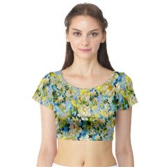 Background Backdrop Patterns Short Sleeve Crop Top (Tight Fit)