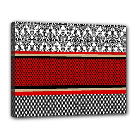 Background Damask Red Black Canvas 14  x 11