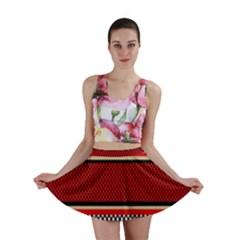 Background Damask Red Black Mini Skirt