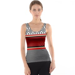 Background Damask Red Black Tank Top