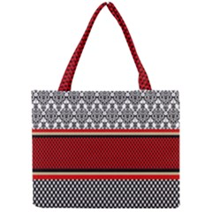 Background Damask Red Black Mini Tote Bag