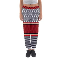 Background Damask Red Black Women s Jogger Sweatpants