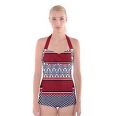 Background Damask Red Black Boyleg Halter Swimsuit