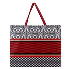 Background Damask Red Black Zipper Large Tote Bag
