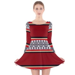 Background Damask Red Black Long Sleeve Velvet Skater Dress